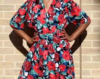 1980's Vintage Floral Dress 80's Floral Dress Retro Vintage Summer Dress Flower Retro Dress Women's Clothing