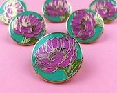 Peony Enamel Pin, Pin Badge, Hard Enamel Flower Pin, Flair, Lapel Pin, Floral Brooch, Button, Pin Game, Enamel Badge, Floral Accessories