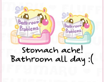 Bathroom Problems Fluffy || Planner Stickers, Cute Stickers for Erin Condren (ECLP), Filofax, Kikki K, Etc. || SFS164