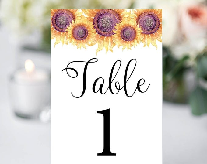 Table Numbers Template, Printable Table Numbers, Wedding Table Numbers, Instant Download, Sunflower Wedding, YOU EDIT, DIY, Wedding Template