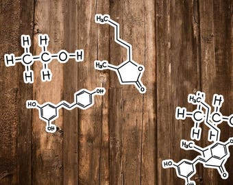 6 Alcohol Molecule Stickers - Alcohol Chemistry Gifts - Wine Decor, Whiskey Lover Gift, Vodka Sticker Kit/Ethanol, Lactone, Resveratrol Art
