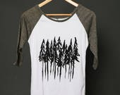 Trees t-shirt nature Woman clothing forest trees top woods shirt nature clothing graphic trees tee tree printed trees pines forest outdoors