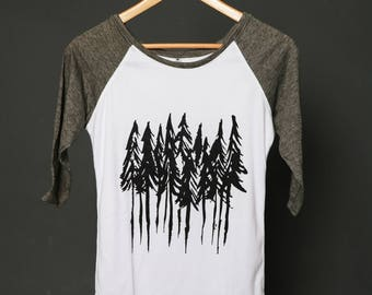 Woman shirt with nature Woman's clothing forest trees top woods shirt nature clothing graphic trees tee tree printed trees pines forest