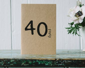 40 Birthday Age Card - fortieth  - forty - 40th