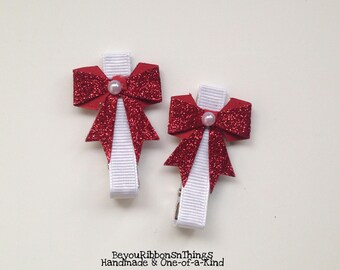 Red Glitter Bows | Hair Clips for Girls | Toddler Barrette | Kids Hair Accessories | White Grosgrain Ribbon | No Slip Grip | Holidays
