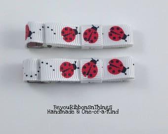 Ladybugs | Hair Clips for Girls | Toddler Barrette | Kids Hair Accessories | Grosgrain Ribbon | No Slip Grip