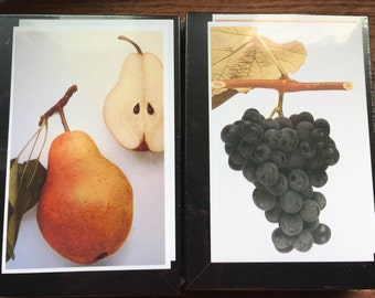 Fresh Fruit prints - Beautiful pair of prints  gift botanical -  5 by 7 Choose two  your fruit - pears, grapes, strawberries, apples