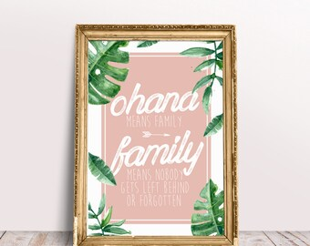 Ohana Means Family *A3 digital print file* Inspirational Printable Watercolour Poster