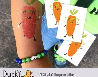 Set of 3 Carrot temporary tattoos. Veggie kids tattoos with hipster vegetable in sunglasses. Vegetable party favors and bunny party favors.