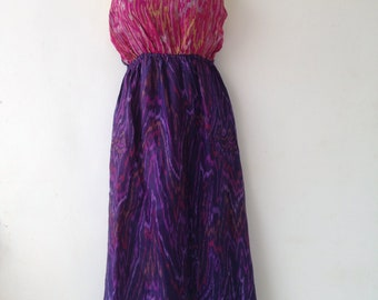 Dress made from Up Cycled Silk Saris from India //Purple-Pink with Dress // Large Dresses// Summer Dress // Tank Dress