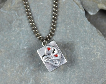 Vintage Silver & Enamel Box of Miniature Playing Cards Charm Pendant