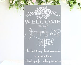 Ex- Large Wedding Welcome sign Large 2 sizes available 80cm or 60 cm tall FREESTANDING no easel needed Dove Grey Rose Bouquet Design