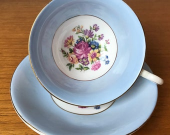 Taylor and Kent Teacup and Saucer, Blue Border Tea Cup and Saucer, Floral Bouquet Centre, English Bone China, Vintage