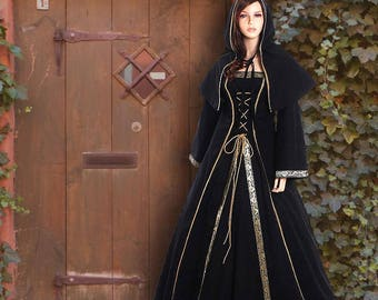 Medieval Gothic robe WGT wave gothic dress with cowl