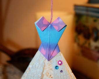 Origami Pink Blue Prom Ballerina Dress Hanging Ornament