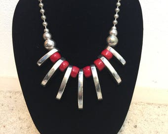 Bold Tribal Red Coral Necklace and Hoop Earrings