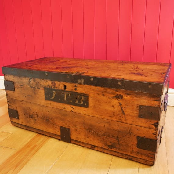 Antique Victorian Campaign Chest Coffee Table