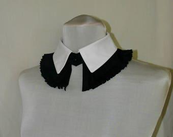 White Black Detachable Ruffle Collar