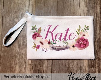 Bridesmaid Gift, Personalized Pencil Pouch, Custom Cosmetic Bag, Bachelorette Makeup Pouch, Wedding Party Gift, Personalized Floral Pouch