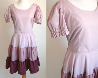 60s/70s Purple Prairie Dress - Full Skirt in Shades of Purple - Light Cotton Short Sleeve Summer Dress - Peasant Dress - Size Small
