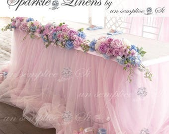 "Tulle Chiffon Table Skirt / 57"" Length / Extra  Long  Tulle Table Skirt"