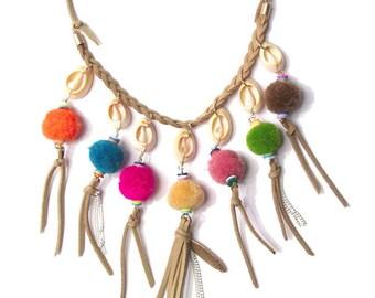 Boho Multi-Color Pom Pom Seashell Fringe Suede Leather Necklace