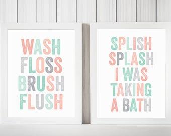 Set of 2 Prints, Bathroom PRINTABLES, Wash Floss Brush Flush, Splish Splash I Was Taking A Bath, Coral Bathroom Decor, Coral and MInt