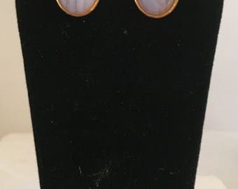 Gold plated brass oval stud earrings with oval blue lace agate stones