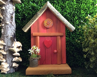 Dusty Rose Fairy Door with Wooden Floral Button, Red Heart and a Fairy Flower Pot