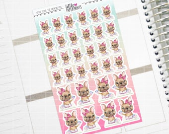 "Little Fiona, The Frenchie Mix - ""STICKER PLANNING"" Character Series Stickers - Decorative Planner Stickers"