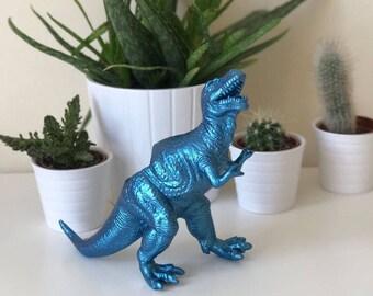 Tyrannosaurus rex dinosaur metallic blue planter with succulent plant trex desk home wedding decoration decor office birthday gift idea