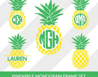 Pineapple Monogram SVG, EPS, DXF, Silhouette Studio, Circut Design Space, Brother Scan and Cut, Cameo, Vector, Clipart, Monogram, Decal