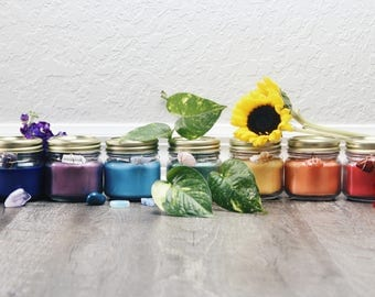 Soy Chakra Candles with Crystals (8oz set of 7)