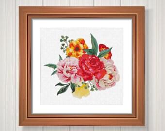 Flower cross stitch pattern,Pdf flower,Instant download #19