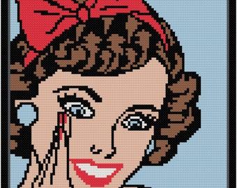 Lady cross stitch pattern pdf,Craft pattern DIY,Instant download #22