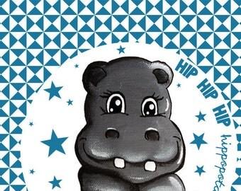 fabric Blue Hippo