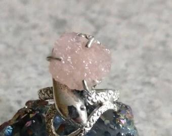 Rough Pink Morganite Snake Ring, Size 7