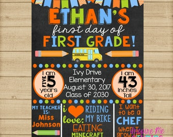 First Day of School Chalkboard / 1st Day of School Sign / Back to School Sign / ANY grade available / First Day of School Chalkboard