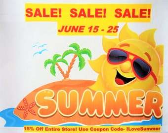 SUMMER SALE!!! 15% Off Entire Store! Use Coupon Code- ILoveSummer