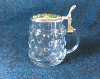 Vintage BMF Bubble Glass German Beer Stein with Pewter Lid and Deer Graphic, Octoberfest Tankard