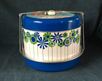 Vintage J L Clark Triple Decker Food Carrier, Blue and White Mod Floral Pot Luck Container