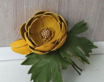 Yellow Leather globe flower brooch, handmade leather flower brooch, flower brooch, flower pin, leather jewelry
