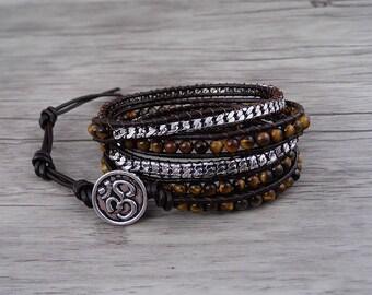 yellow bracelet Tiger eye bracelet Boho waps bracelet gemstone bracelet 5 wraps bracelet chain Bracelet yoga bead leather Bracelet SL-0541