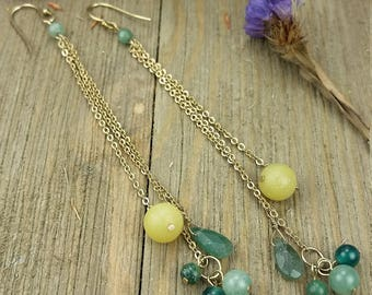 Vintage Gold Plated Beaded 3 Strand Chain Earrings