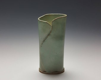 Handmade ceramic vase by Potteryi.  Sage green wrap vase great for table top decor.