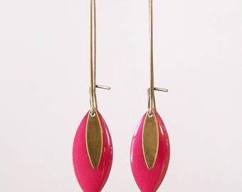 Raspberry sequin pink enamel earrings