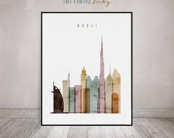 Dubai art, print, Dubai skyline, watercolor Poster, Wall art, United Arab Emirates, City poster, Typography art, Home Decor, ArtPrintsVicky