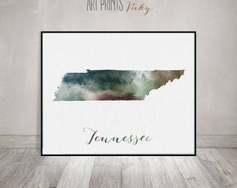 Tennessee map, Tennessee print, Tennessee poster, Wall art, Tennessee state, travel poster, USA art print watercolor print, ArtPrintsVicky