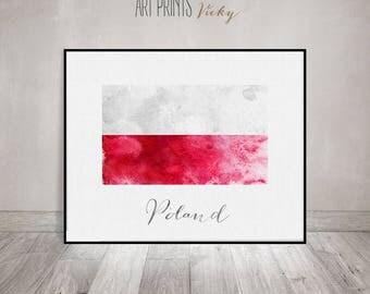 Poland flag print, Poland flag poster, watercolor print, travel poster, Wall art print, Wall Decor, ArtPrintsVicky