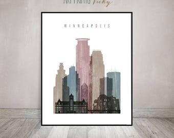 Minneapolis art print, poster, Minneapolis skyline art, Distressed Poster, Travel, Wall art, Minnesota, wall decor, Gift, ArtPrintsVicky